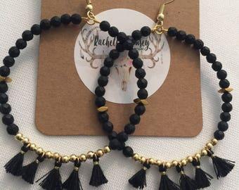 Black/black tassel earrings