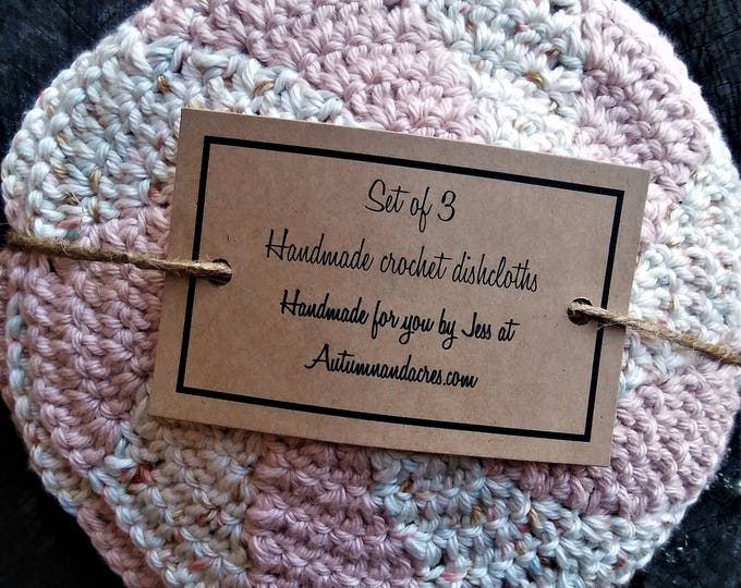 Set of 3 Peaches and Cream Cotton Crochet Shaker Dishcloths