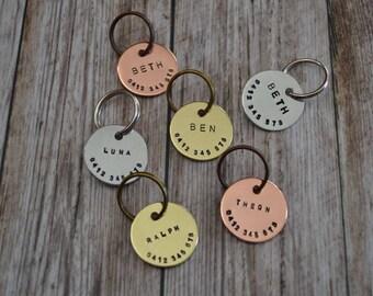 Hand Stamped Cat ID Tag - 25mm // Copper // Brass // Aluminium // Custom Made // Cat Tag // Cat Accessory // Pet Gift // Handmade Tag //