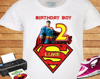 Any Name and Age for Birthday Boy. Design Superman for T-shirt. Birthday Party, Personalized Family Shirts, Iron on Transfer, Printable.
