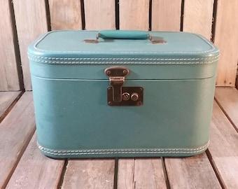Small Blue Suitcase, Vintage Makeup Travel Box, Vintage Luggage, Old Suitcase, Old Luggage, Home Decor, Retro Suitcase, Blue Luggage,