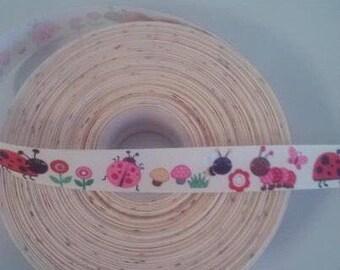 lady bug 7/8 ribbon - summer print - animal print ribbon - wholesale supplies - hairbow making supplies - caterpillar ribbon -
