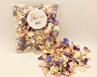 Flower petal confetti - pink & blue with off white petals - biodegradable - metallic gold calligraphy 'throw me' label - vintage weddings