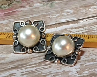 Vintage Taxco Silver Earrings Mexico Pearl Clip On Style 925 Tribal Large Earrings