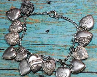 Sweetheart Charm Bracelet 1940's WWII Puffy Heart Sterling Reposse 14 Charm Vintage