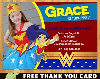 Wonder Woman Invitation, Wonder Woman Invite, Wonderwoman Invitation, Wonder Woman Birthday, Wonder Woman Printables - thank you card