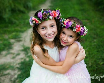 Bridal flower crown Purple Flower head wreath Flower girl crown toddler girl flower crown baby girl crown floral crown pink purple