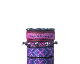 Colours of Life - Tribal Purple, Green Bracelet | 3 In 1, Handmade, Faux Leather, Green,Eco Leather, Bracelet, Print, Quote, Purple, Leather