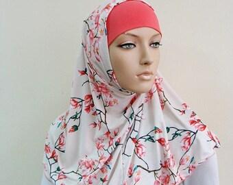 10% OFF Floral Hijab Two Piece,Al Amira style, Scarf handmade, prayer scarf, Muslim, islamic viscose scarf, eid gift ideas