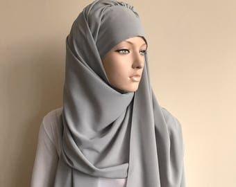 Stylish gray Turban Hijab, ready to wear hijab, Pret A Porter Hijab, abaya hijab, burqa, Dubai hijab, modern hijab, elegant abaya