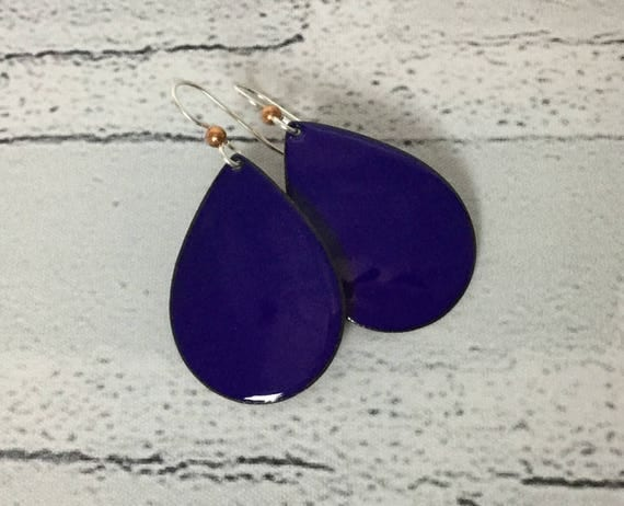 "Handmade Dark Navy Royal Blue Enameled Copper Sterling Silver Drop Dangle Earrings 1.75"" Professional Office Accessories Metalsmith #J20"