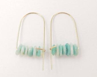 Amazonite earrings, Aquamarine earrings, Semiprecious earrings, Gold boho earrings, Minimalist earrings, Boho earrings, Brass earrings