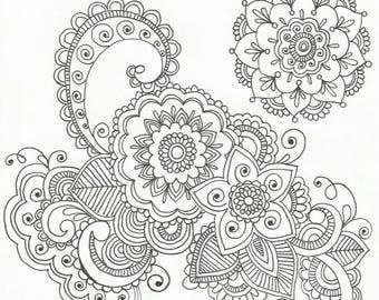 Hand Drawn Zentangle Flower