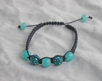 Turquoise and Navy Blue Shamballa bracelet