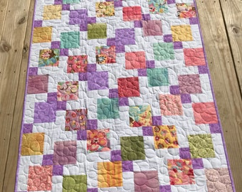 Quilt for baby to youth, girls quilt, purple quilt, girl's quilt