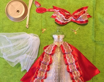 Beautiful Barbie vintage red and white formal dress with accesories stand shoes brush crown petty coat and wrap