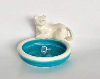 Handmade Blue and White Ceramic Cat Jewelry Dish