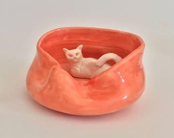 Handmade White Cat in a Bright Poppy Asymmetrical Bowl
