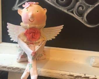 Vintage Inspired Valentine's day Cupid Knee Hugger Doll