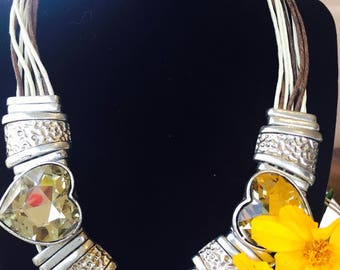 Indian Handcrafted Citrine Crystal Heart Necklace