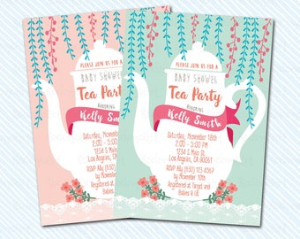 Digital Printable Baby Shower invitation. Tea Party. Baby Shower Tea Party