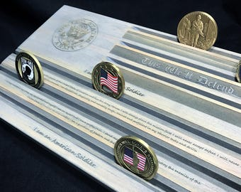 U.S. Army Challenge Coin Display - Soldier's Creed - This We'll Defend - Military Coin Holder - Personalized - Customizable