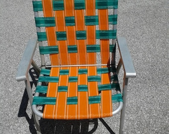 Free Shipping Anywhere!!!  Vintage Mid Century Aluminum Lawn Chair