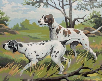 Paint by Number Poster: Two Hunting Dogs, Pointers