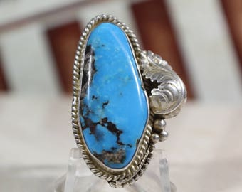 Vintage Navajo Turquoise Sterling Silver Ring #E109