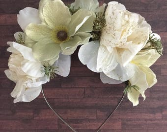 Christmas Headband, Gold Flower Crown, Gold Glitter, Peony, Anemone, Flower Crown, Party Headband, Hair Accessory, Cream Headband