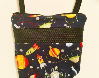 Sugar Glider Bonding Pouch, baby hedgehog bonding bag, small exotic nesting supplies, zipper bag, snuggle sack, Navy Spaceships Flannel
