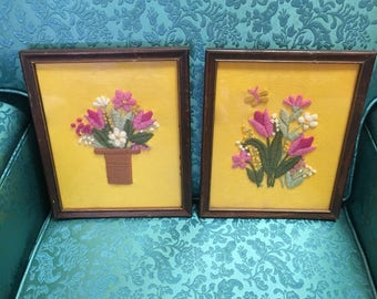 "Set of 2 Yarn Embroidery ""Paintings"""