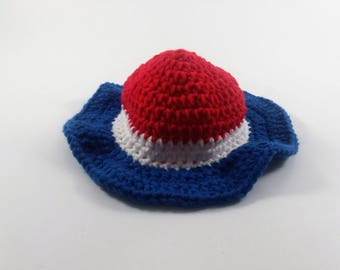 Fourth of July Sunhat, Baby Girl Sunhat, Red white and blue sunhat