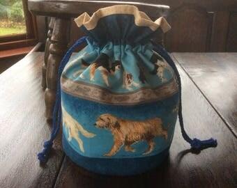 Handmade Dog Drawstring Bag.Drawstring Gift Bag.Blue.Dog Treats Bag.Unique.Animal Bag.Drawstring Tote.Birthday Gift.
