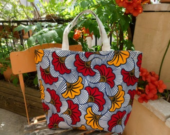 Tote size medium in Burkina Faso African fabric and recycled rice sack