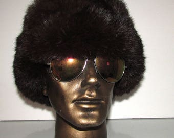 Vintage unisex dark brown Real RABBIT  Fur Bomber Trapper Aviator Hat Cap Large   lined with black matelassé material
