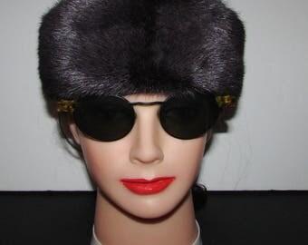 """superbe  bandeau de véritable fourrure de vison couleur prune /Superbe plum color  real mink fur headband    22"""""""