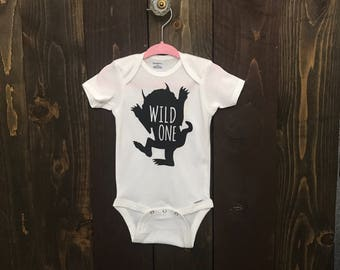 Wild One first birthday bodysuit, boys first birthday, where the wild things are