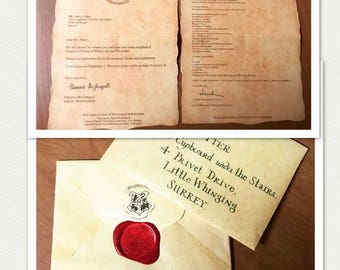 Harry Potter Acceptance Letter, Harry Potter, Hogwarts Wax Seal,  Personalized Acceptance Letter,