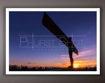 Landscape photography print, Angel of the north sunset shot, blue hour image, golden hour photo, dark blue sky