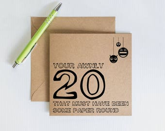 Slang birthday card etsy funny 20th birthday cards handmade greeting card geordie slang novelty card kraft recycled bookmarktalkfo Choice Image