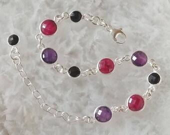 Amethyst, Ruby, Black Onyx and Sterling Silver Bracelet