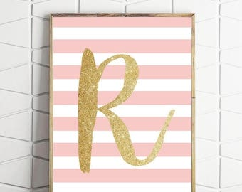 70% OFF SALE letter R printable, pink nursery art, girls wall art, pink nursery decor, pink and gold art, girls wall decor, girls pink decor