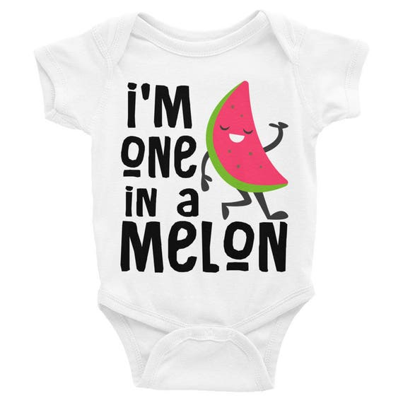 One in a Melon Funny Infant Bodysuit Onesie | Unisex onesie | Watermelon Onesie | Fruit onesie  newborn girl outfit, Cute Baby Onesie,