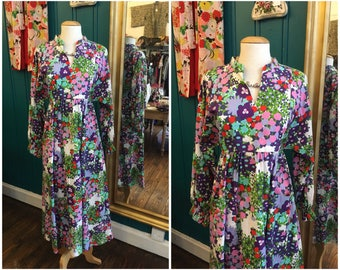 "1970s Cotton Floral Maxi Dress Sleeves B36"" Small UK10"