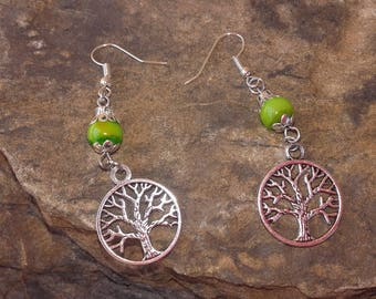 Earrings tree of life green and silver