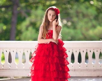 Flower Girl Dress, Cupcake Dress, Princess Dress, Girls Ruffle Dress, Girls Floral Dress, Christmas Dress, Valentines Dress, Vintage Dress