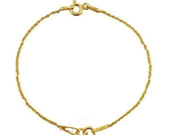 24K Gold Plated 15cm Sterling Silver Bracelet Chain PK1 PK3