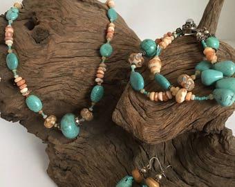 Turquoise, Peruvian Opal, Gemstone Necklace