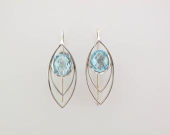 Silver Topaz Drop Leaf Earrings